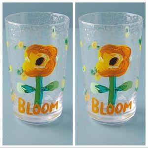 2 Anthropologie Carolyn Gavin Bloom Juice Glasses